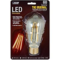 Feit BPST19/LED The Original Vintage Style Bulb 60W Edison Equivalent Medium Base Clear Dimmable LED Light by Feit