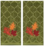 Celebrate Fall Green Chevron Embroidery Leaves Cotton Kitchen Bath Hand Towels, Set of 2