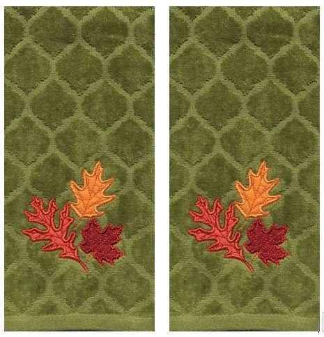 Celebrate Fall Green Chevron Embroidery Leaves Cotton Kitchen Bath Hand Towels, Set of 2 by Celebrate Fall Together