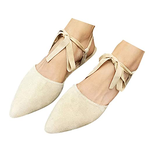 b35f83e89 Veodhekai Womens Pointed Flat Shoes Single Shoes Solid Romen Sandals Ankle  Strap Buckle Sandals Casual Beige
