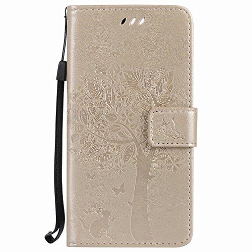 Yiizy Huawei Honor 8 Custodia Cover, Alberi Disegno Design Sottile Flip Portafoglio PU Pelle Cuoio Copertura Shell Case Slot Schede Cavalletto Stile Libro Bumper Protettivo Borsa (Dorato)