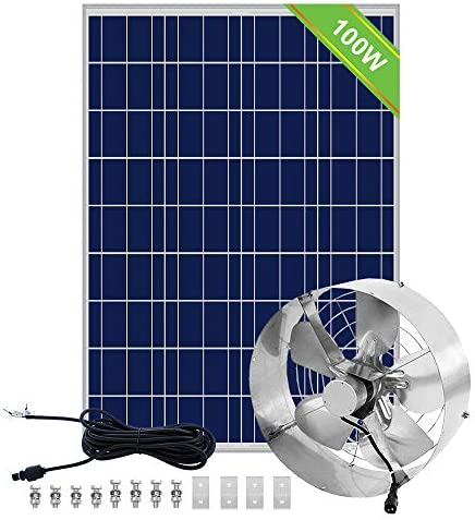 Pumplus High Flow 3000CFM Solar Powered Attic Fan DC 65W Powerful Vent Fan 12.6 inch 100W Solar Panel, Vent Fan For Home Attic, Shed, or Garage Ventilation, Up to 4,000 SQF Coverage Area