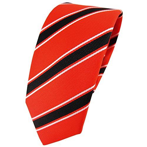 étroit TigerTie Designer cravate orange leuchtorange noir blanc rayé -