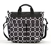 Unisex Baby Diaper Bag :: Extra Large Zippered Tote with 13 Pockets, Padded Carry Handles, Attachable Padded Shoulder Strap, Changing Pad & Wet/Dry Pouch :: 14  W x 16  H x 4  D, Black Print