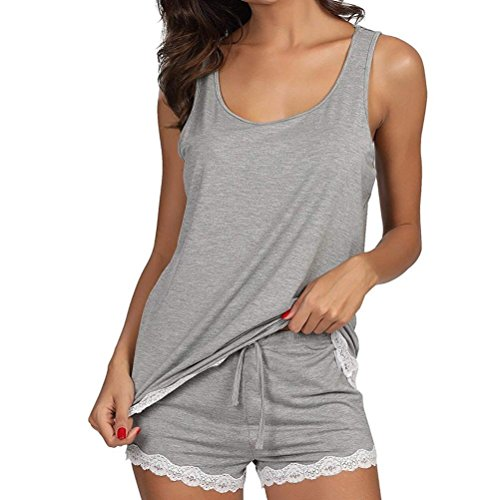 (Challyhope Womens 2pcs Casual Racerback Tank Top Shorts Sweet Lace Trim Sleepwear Pajama Sets (XL, Grey))