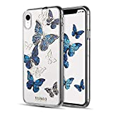 LUXMO PREMIUM Case for iPhone XR, Crystal Clear TPU Fashion Slim Fit Protective Bumper Case Cover for Apple iPhone XR 6.1 Inch (2018 Released)-Blue Butterfly