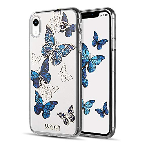 Butterfly Phone Cover - LUXMO PREMIUM Case for iPhone XR, Crystal Clear TPU Fashion Slim Fit Protective Bumper Case Cover for Apple iPhone XR 6.1 Inch (2018 Released)-Blue Butterfly