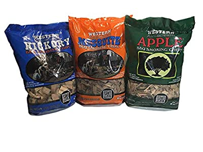 Western Perfect BBQ Smoking Wood Chips Variety Pack - Bundle (3) - Most Popular Flavors - Apple, Hickory & Mesquite by Western