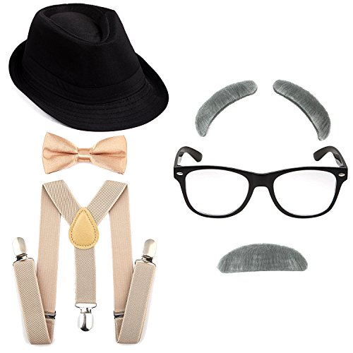 1920's Boys Gangster Costume Set - Short Brim Fedora Hat,Adjustable Suspenders with Pre-Tied Bow Tie, Old Man Eyebrows & Moustache,Nerd Fake Glasses for Kids & Child(Black Hat & Khaki Suspenders)]()