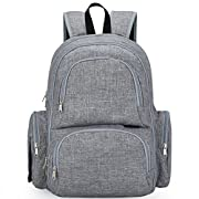 My Little Scout Baby Diaper Bag Backpack | Large Waterproof Multi-Functional Bag Includes Insulated Pockets, Laptop Sleeve, Changing Pad and Stroller Straps | Grey Trend Fabric for Baby Boy and Girl