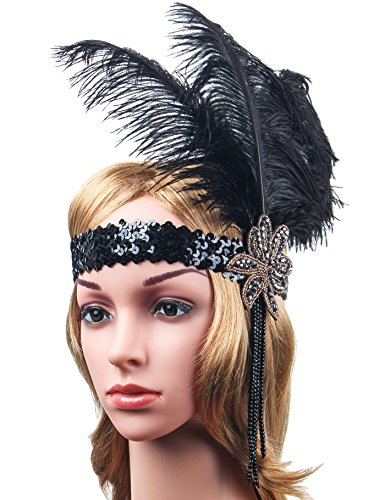 Meilun Women's Novelties 20's Gatsby Deluxe Black and Gold 1920s Flapper Headband (Black&Gold) (Deluxe Flapper Girl Costume)