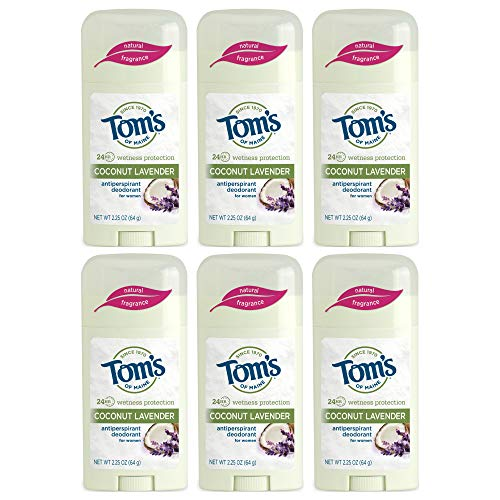 - Tom's of Maine Women's Natural Stick Antiperspirant, Coconut Lavender, 2.25 Ounce, Pack of 6