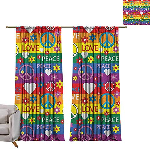berrly Shades Window Treatment Valances Curtains Groovy,Heart Peace Symbol Flower Power Political Hippie Cheerful Colors Festival Joyful, Multicolor W96 x L96 Thermal Insulated Blackout Curtains