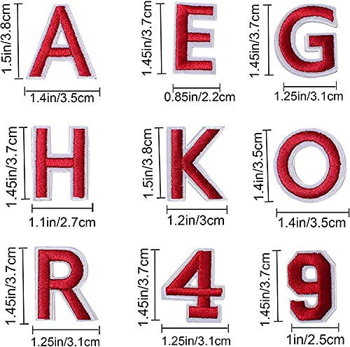 Harsgs 72 PCS Iron on Letters Numbers Patches, Embroidered Patches Letters A-Z Numbers 0-9 Applique for Clothes, Dress, Hat, Jeans, DIY Accessories, Red