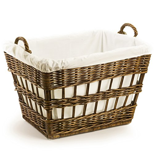 The Basket Lady Wicker French Laundry Basket, One Size, Antique Walnut Brown