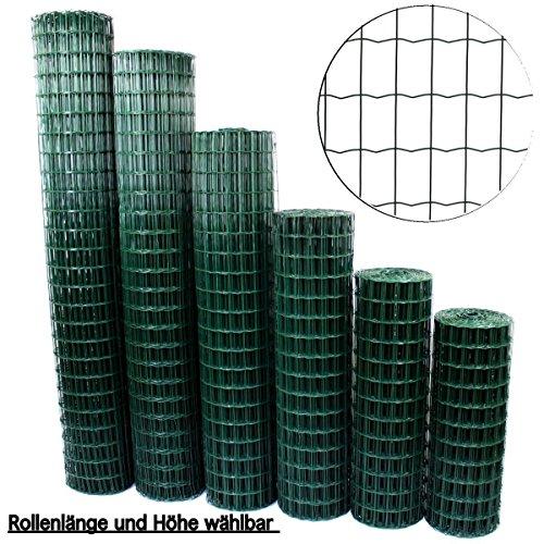 Gartenzaun Grün - Höhe und Länge wählbar + kostenloser Versand / Maschendraht Zaun Gitterzaun Maschung 7,5x5 cm Schweißgitter Wildzaun (10 Meter Länge x 1.2m Höhe)