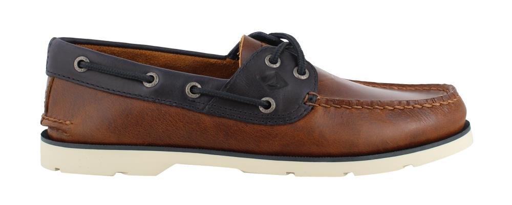 Sperry Men's, Leeward Boat Shoe TAN/Navy/White Sole 9 M by Sperry
