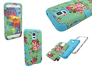 S5 SHOCKPROOF CASE, Mobile King USA High Impact Rugged Hybrid GREEN FLORAL PATTERN Case for Samsung Galaxy S5 i9600
