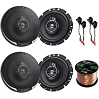 Car Speaker Package Of 4x Kenwood KFC1795PS 660-Watt 6.75 Inch Flush Mount Black Coaxial Speakers - Bundle Combo With 4x Speaker Adaptors For select 1988-up GM vehicles + Enrock 50Ft 16G Speaker Wire