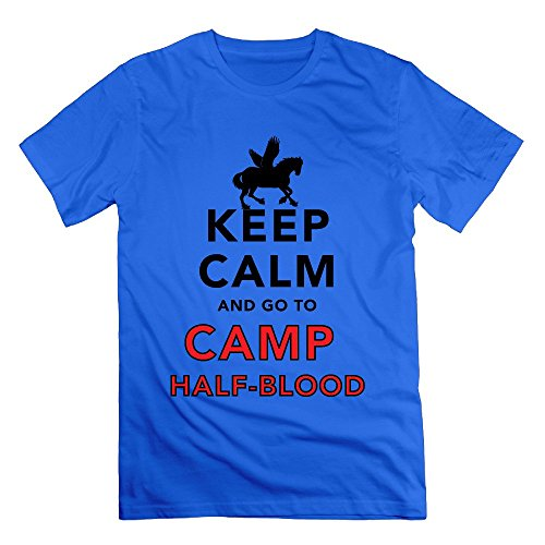 Men's Keep Calm And Go To Camp Half Blood T Shirt RoyalBlue (Logan Lerman Merchandise compare prices)