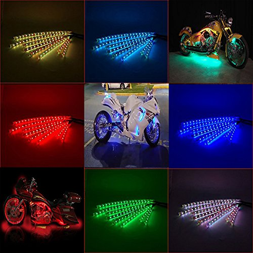 Motorcycle led light kit 8PCS with Wireless Remote Controller RGB Multi-Color Neon Glow Flashing Lights for Harley Davidson Honda Kawasaki Suzuki Ducati Polaris KTM BMW