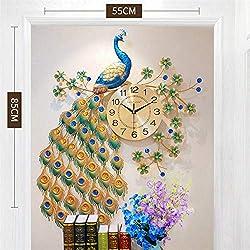 Large Creative Wall Clock Peacock Diamond Mute Clocks for Living Room Home Decor Digital Metal Crystal Modern Clock Wall Watch