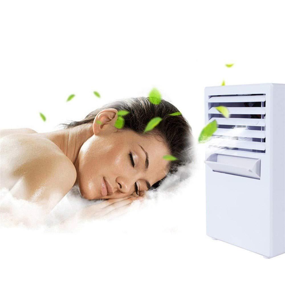 CAOQAO Climatiseur Portable Mignon Refroidisseur dair Portable Ventilateur Climatiseur Mobile Portable,Mini Air Refroidisseur Humidificateur 3 Vitesses,pour Maison Bureau Campus,Blanc