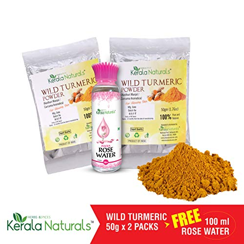 Kerala Naturals Wild Turmeric - Kasthuri Manjal: For Glowing Skin - 100 gm + 100 ML ROSE WATER FREE