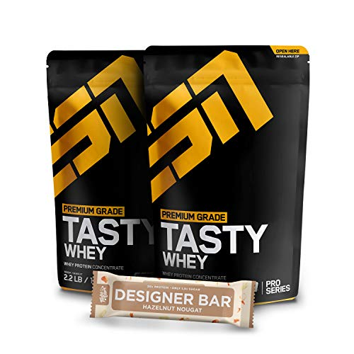 2 x 1000g. ESN Tasty Whey + 1 x Gratis ESN Tasty Bar 2 x Vanilla Ice Cream