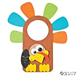 12 ~ Thanksgiving Turkey Doorknob Hanger Craft Kits ~ Approx. 8' X 9' ~ Foam Stickers ~ New / Individually Packaged