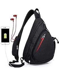 Sling Bag,Large Crossbody Backpack Chest Shoulder Backpack Waterproof Travel With USB Charging Port for Men Women Black