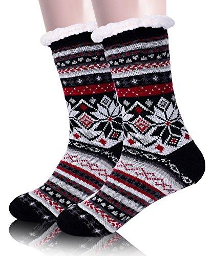 EBMORE Womens Fuzzy Slipper Socks Fleece Lined Warm Christmas Cozy Winter Socks with Grippers (Black) (Plus Size Stockings Lined)