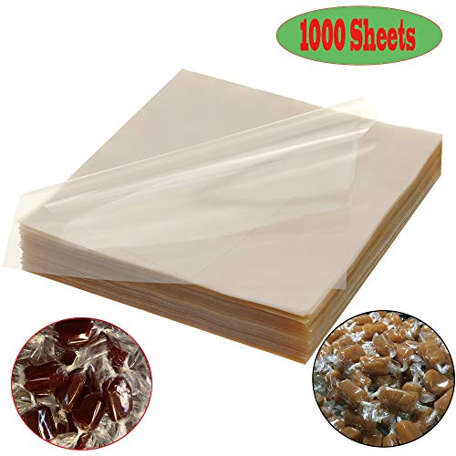 1000 Sheets Clear Cellophane Wrap Roll 5x5 Inches Candy Caramel and Chocolate Wrapper for Treats, Lollipop, Gummies, Saran Wrap& Cake Pop Making Supplies, etc