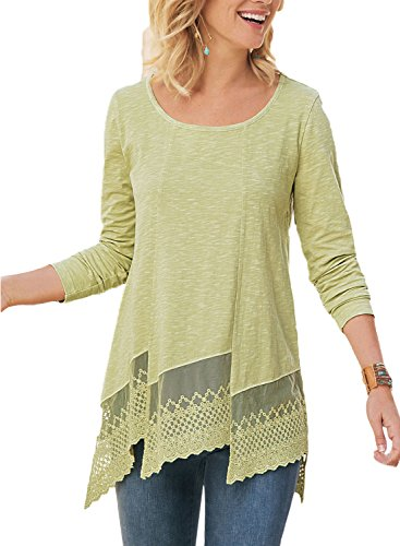 Hem Long Sleeve Cotton - Asvivid Womens Long Sleeve Scoop Neck Cotton Shirt Asymmetrical Lace Hem Tunics Blouses Plus Size 2X Yellow
