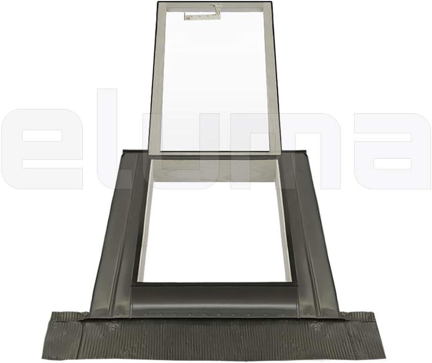 modell CLASSIC LIBRO//Dachfenster Ausstiegsfenster Eindeckrahmen//Oberlicht//Aufklappbar mit T/ürfunktion//Zugang zum Dach//Doppelglas 55x78 Breite x H/öhe