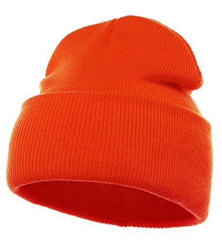 Orange Warm 12 Inch Long Winter Beanie - Simple Warm 12 Inch Winter Beanie Hat