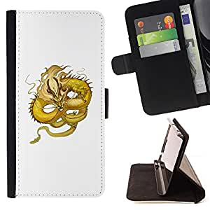 BullDog Case - FOR/Sony Xperia M2 / - / YELLOW DRAGON FLYING SERPENT MOUSTACHE /- Monedero de cuero de la PU Llevar cubierta de la caja con el ID Credit Card Slots Flip funda de cuer