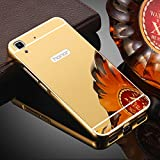 D-kandy Luxury Metal Bumper + Acrylic Mirror Back Cover Case For Huawei Honor Holly 3 - GOLD