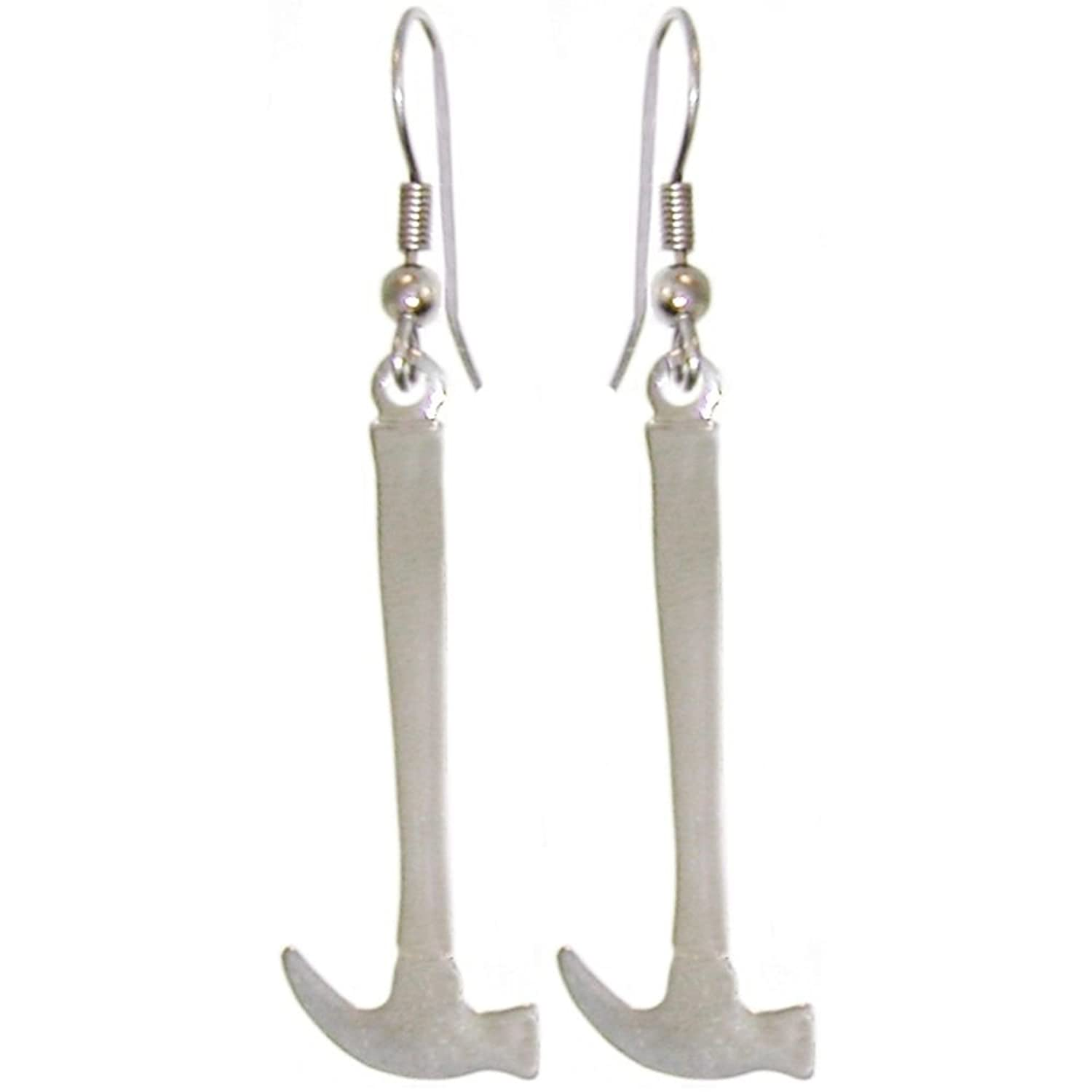 """1 3/8"""" Hammer Earrings Tool Weapon, Quality Made in USA! 100% Nickel Free!, in Pewter"""