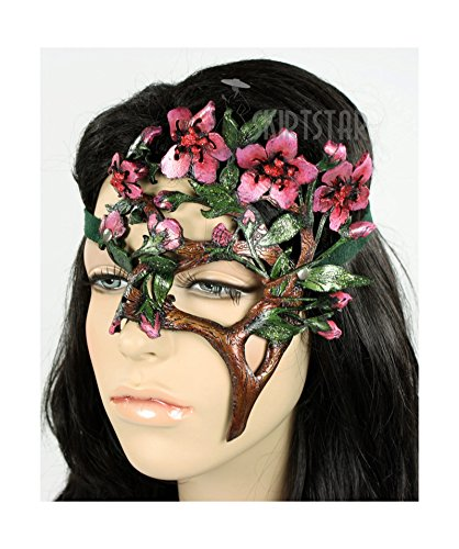 Dryad Costume (Handcrafted Leather Cherry Blossom Mask (Left Side))