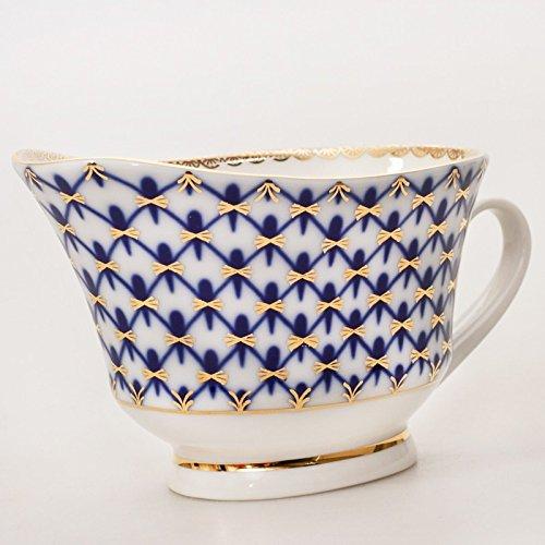 Cobalt Net Gravy Boat. Imperial Porcelain Factory. 6.8 Fl Oz