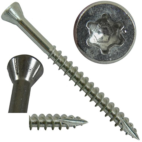 #9 x 1-5/8'' Silver Star Stainless Steel TRIM HEAD Screw Torx/Star Drive Head (Bulk Box) - Stainless Steel TRIM HEAD Wood Screws - 305 Stainless Steel Torx/Star Drive Wood Screws (4000 Screws) by Construction Wood Screws