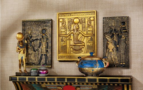Egyptian Papyrus Combo Wall Sculptural Plaqueset King Tut Goddess Isis and Goddess ()