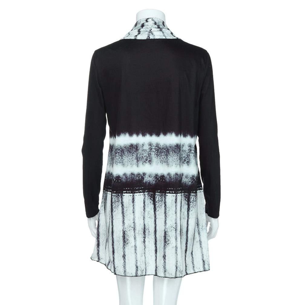 TOPUNDER Fashion Long Sleeve Asymmetric Cardigan for Women Tie-Dye Hi-Low Open Top Blouse