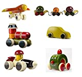 Set of 6 Colorful Wooden cars and Baby Toys with wheels : Model OW-OW007