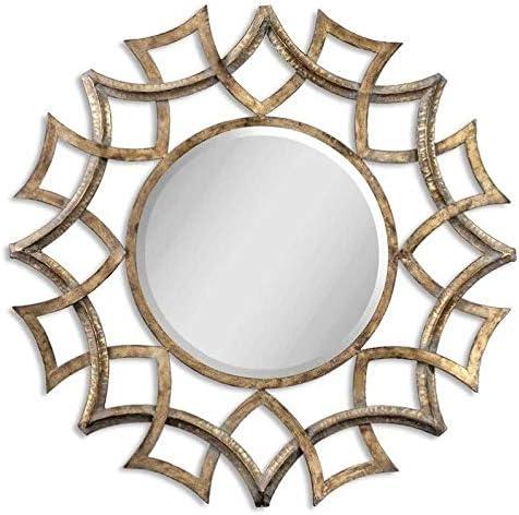 Uttermost Demarco Round Mirror in Antique Gold