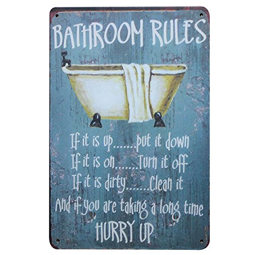 Newness World Bathroom Rules Vintage Metal Tin Wall Sign Plaque Wall Art Decoration, 20 by 30 cm