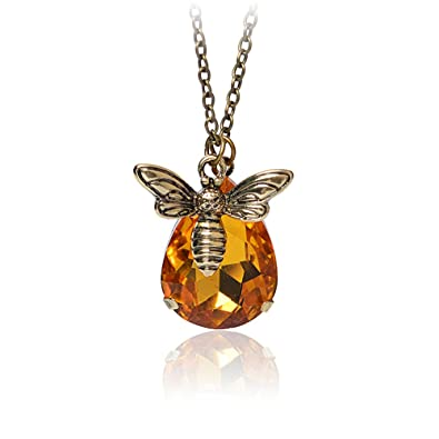 966347f07 Honey Bee Necklace Crystal Pendant Necklace Bumble Bee Vintage Necklace Bee  Jewelry Bee Keeper Bee Lover Gift Graduation Gift: Amazon.co.uk: Jewellery