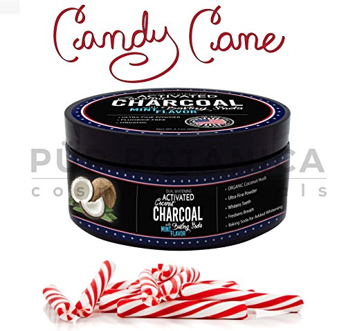 CANDY CANE MINT - Natural Organic Coconut Activated Teeth/Tooth Whitening Charcoal Powder