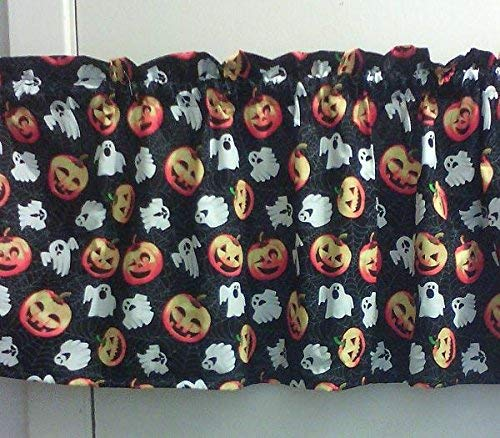 Window Curtain Valance, Halloween Spiderweb Cobweb Ghost Jack-O-Lantern, Made to Order